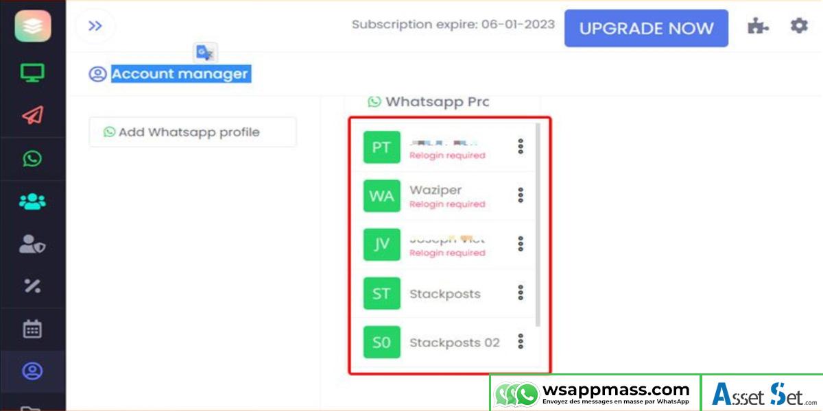 Connexion compte WhatsApp