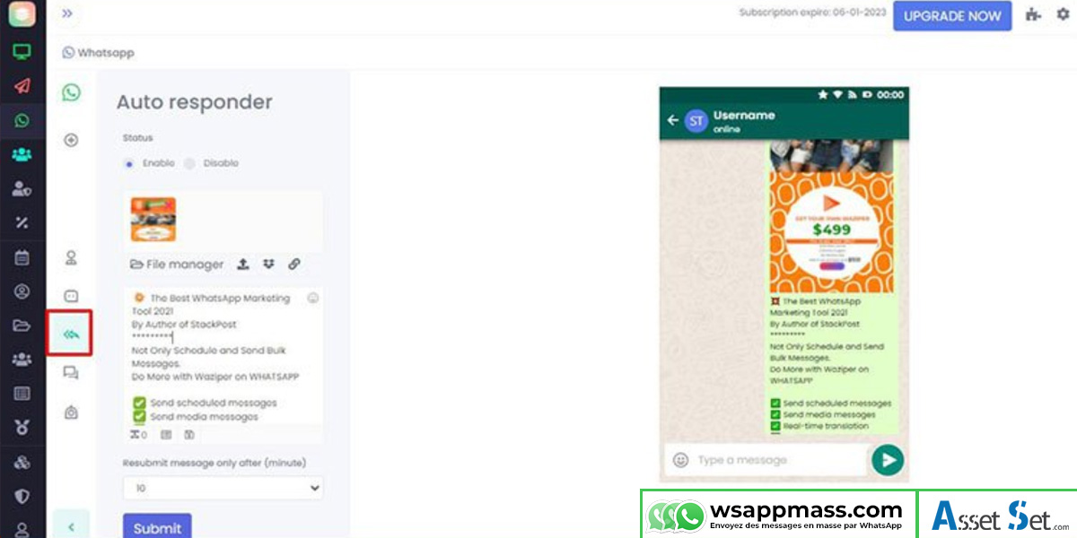 Répondeur automatique WhatsApp